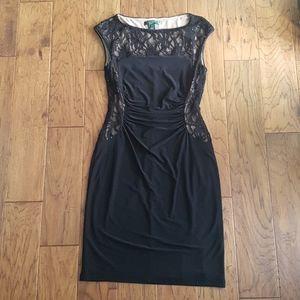 Lauren Ralph Lauren Black Lace Sequin Dress Size 6